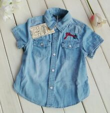 NWT Baby Boys Soft Denim Short/Long Sleeves Shirt Top Clothes Size 2,3,4,5,6,7,8