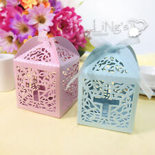 Cross / Love Heart Pattern Laser Cut Gift Candy Boxes Wedding Party Favor Box