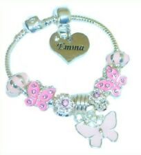 CHILDRENS/GIRLS PERSONALISED NAME or INITIAL CHARM BRACELET PINK CZ BUTTERFLIES