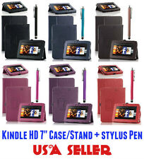 """PU Leather Protective Case Cover Stand for Amazon Kindle Fire HD 7"""" w/Stylus Pen"""