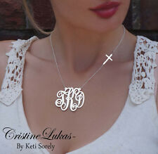 Designer Monogram Initials Necklace w/ Celebrity Style Cross in Yellow Gold