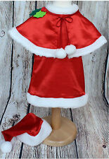 BABY GIRL Mrs SANTA DRESS With HAT CHRISTMAS RED FANCY OUTFIT COSTUME 6M-3Y