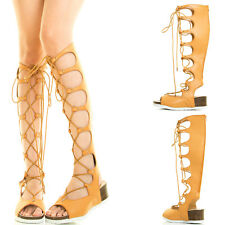 Tan Open Toe Lace Up Butterfly Cut Out Gladiator Mid Calf Knee Women Flat Sandal