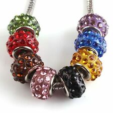 5pcs Mixed Charms Rhinestone Crystal Beads Fit European Bracelet 13mm