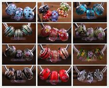 10/20pcs 23 Colors Lampwork Glass Murano Big Hole Bead Fit European Bracelet