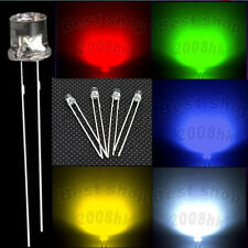 1000pcs 3mm 5mm Flat top white red yellow green blue LED light water clear