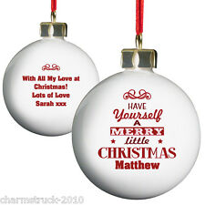 PERSONALISED CHRISTMAS TREE BAUBLE ANY NAME & MESSAGE XMAS DESIGNS X 6 TO CHOOSE