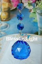Two - Blue - Lead Glass Crystal - 40mm Crystal Ball - Chandelier Prisms Pedant