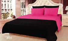 Solid Reversible 100% Cotton 4-6 PC Black Pink Comforter Set Cal King -Twin Size
