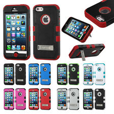 iPhone 5 Hybrid T Armor Case Skin Cover w/Kickstand + Screen Protector