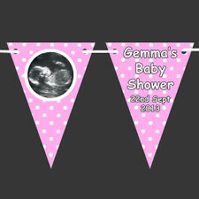 Personalised SONOGRAM Scan Photo BUNTING - BABY SHOWER Banner Boy Girl Polka Dot