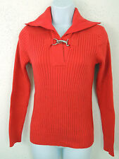 Women Ralph Lauren Buckle Toggle Collared Ribbed Sweater Knit Shirt Jumper S L