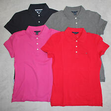 New TOMMY HILFIGER Women's  Short Sleeve Solid Polo Shirt XS S M L XL XXL NWT