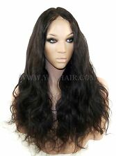 Premium Indian Remy Human Hair Silk Top Full Lace Wig  Body Wave Color #1/1b/2/4