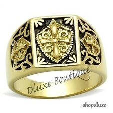 Men's 14k Gold IP Masonic Freemason Knights Templar Coat Of Arms Ring Size 8-13