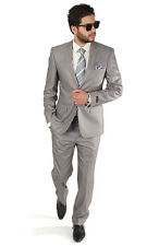 Slim Fit Men Suit 2 Button Notch Lapel Silver Grey Flat Front Pants By AZAR MAN