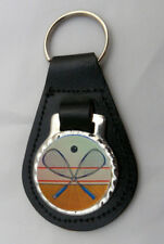 SQUASH RACQUETS LEATHER KEY FOB Keyring Gift Choice of Colours NEW