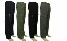 Mens Elasticated Fleece Lined Thermal Walking Cargo Winter Warm Work Trousers