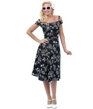 NWT! Bettie Page Black and White Floral Off-The-Shoulder Dress! Rockabilly!