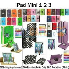 For Apple iPad Mini NEW 360 Degree Rotating PU Leather Case Cover w/ FREE GIFTS