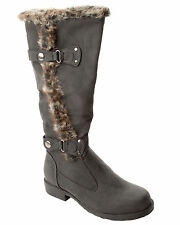 WOMENS BLACK FAUX FUR TRIM SLOUCH KNEE LENGTH WINTER BOOTS LADIES UK SIZE 3-8