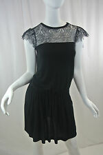 RED VALENTINO Black Knit Dress w/Chantilly Lace Flutter-Sleeves...NWT