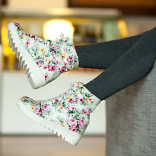 WOMENS ALLURING HIGH TOP FLOWER PRINT LACE UP HIDDEN HEELS SNEAKER ANKLE BOOTS