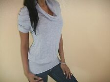 SEXY GRAY COWL NECK CLASSIC FIGURE FLATTERING SWEATER KNIT TOP SML CHIC GY101