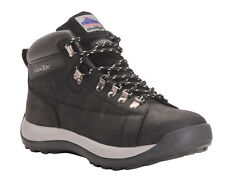 BLACK MID CUT NUBUCK SAFETY STEEL TOE CAP & MID SOLE SAFETY WORK BOOTS BLACK