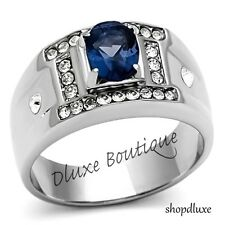 Men's Silver Stainless Steel Oval Cut Blue Montana & Cubic Zirconia Ring