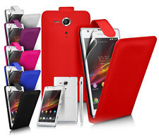 FLIP LEATHER CASE COVER FOR SONY XPERIA SP + SCREEN GUARD
