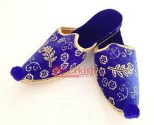 Turkish Ottoman Harem Slipper, Handmade Palace Shoes Henna Night Shoes, Blue