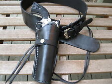 """Gun Belt Combo - 6"""" to 8"""" Smooth Holster- Genuine Leather - Black - Specify Size"""