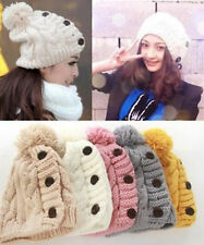 New Fashion!4 Colors Women Button Hats With Tassel Winter Knitted Caps Free Size