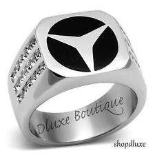 MEN'S ROUND CUT PAVE CRYSTAL STONE SILVER STAINLESS STEEL RING SIZE 8-13