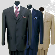 Men's 3 Button Elegant Wool Feel Sharkskin Look Suit Color Black, Tan, Navy
