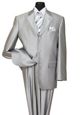 Men's 3 Button Elegant Wool Feel Sharkskin Look Suit Color Silver