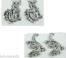 Tibetan Silver Dragon Dangle Earrings - 2 Styles to Choose From - Will Do Studs