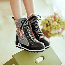 Womens Girls Stylish Floral Print Lace Up Creeper Heels Motor Ankle Boots Shoes