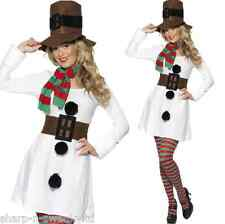 Ladies Adult Sexy Christmas Xmas Snowman Winter Fancy Dress Costume Outfit 8-18