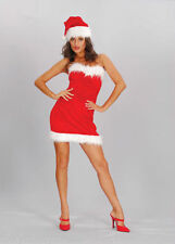 MISS SEXY SANTA LADY VELOUR CHRISTMAS FANCY DRESS SMALL & MED