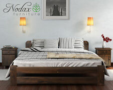 *SOLID WOODEN BEDROOM FURNITURE*PINE SMALL DOUBLE BED 120/200cm in Walnut COLOUR