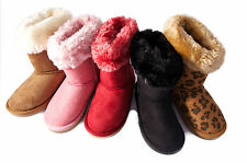 Girls Chix Tall Faux Suede Fur Lined Snugg Snow Boots Fashion Shoes Size SALE