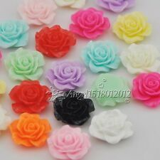 20/100pcs Resin Rose Flower Flatback Buttons DIY Scrapbooking Appliques