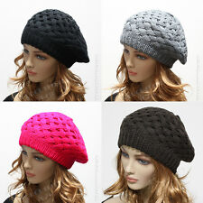 Knit Women's Beret Oversized Beanie Winter Hat Ski Chic Cap Skull Crochet Rasta