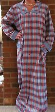 "Robe, Snaps, Blue Plaid, Long 54"", ""Made in USA"""