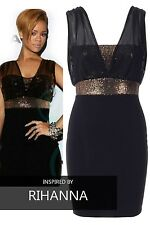 Womens Sequin Black Scuba Christmas Party Ladies Stretch Bodycon Tunic Dress Top