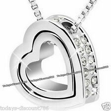 TWIN HEART CLEAR CRYSTAL DIAMOND NECKLACE LOVE WIFE DAUGHTER XMAS GIFT FOR HER