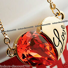LOVE HEART NECKLACE RED CRYSTAL DIAMOND WIFE DAUGHTER SIS GIRL XMAS GIFT FOR HER