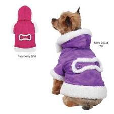 Hooded Sherpa Dog Jacket Faux-Suede Fleece-lined Fashionable & Comfortable Coat
